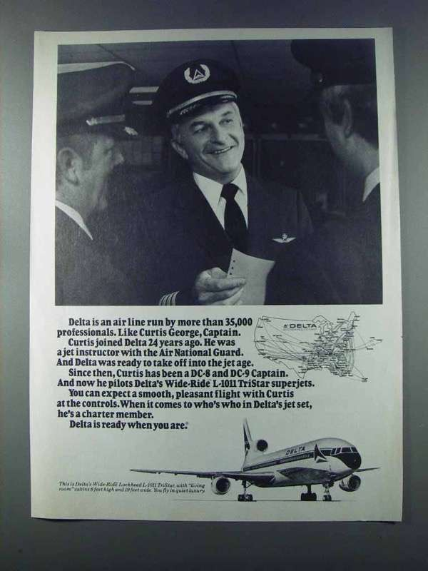 1981 Delta Airlines Ad - Curtis George, Captain
