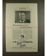 1927 ABA American Banker Cheques Ad, Theodore Roosevelt - $14.99