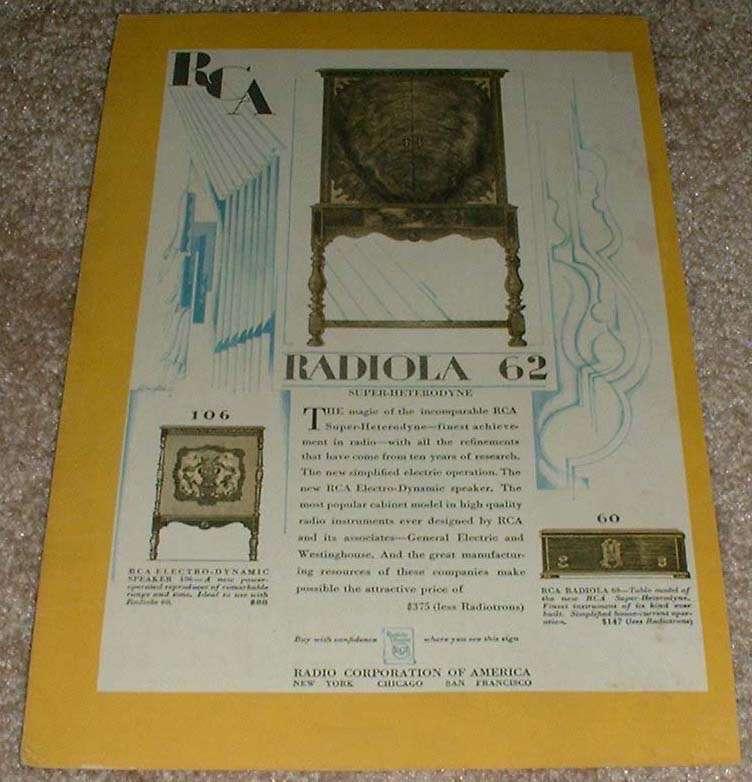1929 RCA Radiola 60, 62 & Speaker 106 Ad! - $14.99