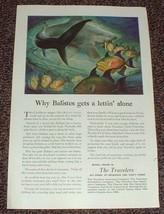 1948 Travelers Insurance Ad, Trigger Fish Balistes!! - $14.99