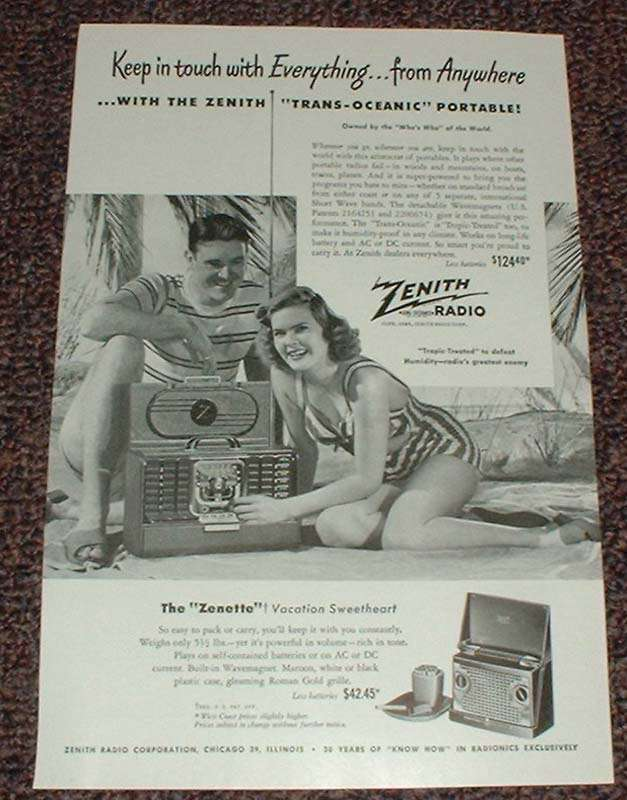 1948 Zenith Trans-Oceanic Radio Ad, Keep in Touch!!