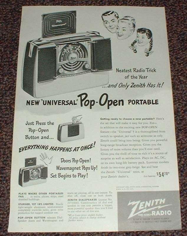 1948 Zenith Radio Ad, Universal Pop-Open Portable!!
