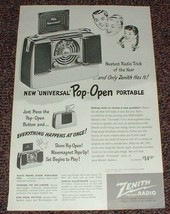 1948 Zenith Radio Ad, Universal Pop-Open Portable!! - $14.99