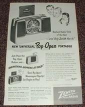 1948 Zenith Radio Ad, Universal Pop-Open Portable!! - $14.99
