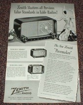 1948 Zenith Radio Ad, Pacemaker, Tournament, Zephyr!! - $14.99