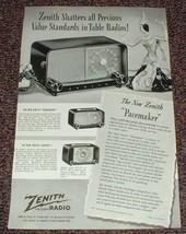 1948 Zenith Radio Ad, Pacemaker, Tournament, Zephyr!! - $14.99