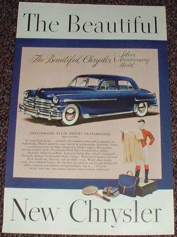 1949 Chrysler Silver Anniversary Model Car Ad, NICE!!
