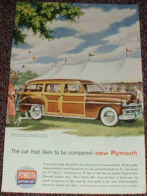 1949 Plymouth Woody Station Wagon Ad, Be Compared NICE!
