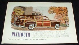 1949 Plymouth Woody Station Wagon Ad Stadium! - $14.99