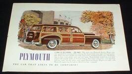 1949 Plymouth Woody Station Wagon Ad Stadium! - $14.99