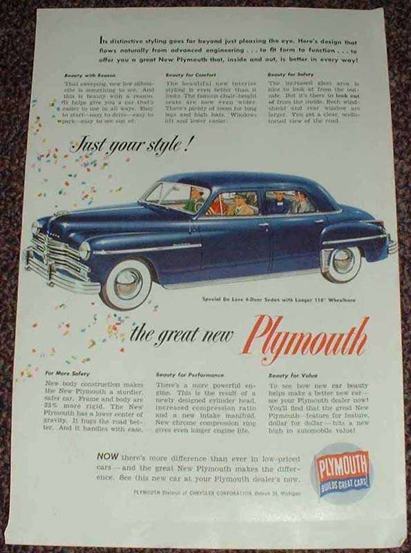 1949 Plymouth Special DeLuxe 4-door Sedan Ad!