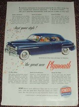 1949 Plymouth Special DeLuxe 4-door Sedan Ad! - $14.99