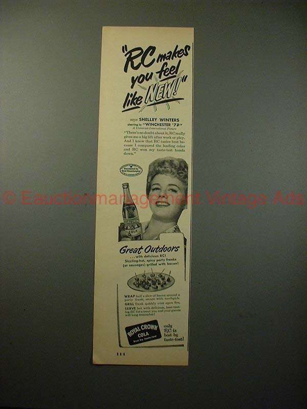 1950 RC Royal Crown Cola Ad w/ Shelly Winters, Feel New - $14.99