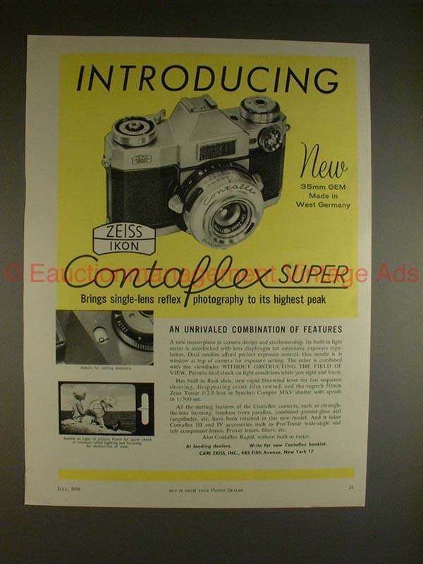 1959 Zeiss Ikon Contaflex Super Camera Ad - and 50 similar items