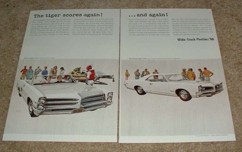 1966 Pontiac 2+2 and GTO 2-page Ad, Tiger Scores Again!