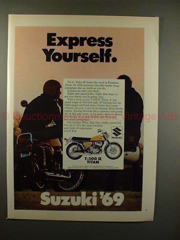 Primary image for 1969 Suzuki T-500 II Titan Motorcycle Ad - Express!!
