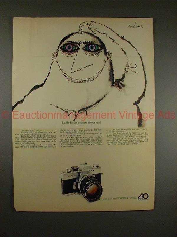 1970 Minolta SR-T 101 Camera Ad - Camera in Your Head!!
