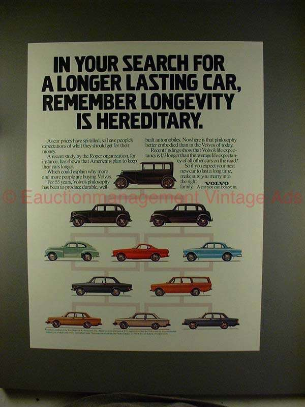 1981 Volvo Car Ad - Remember Longevity is Hereditary!