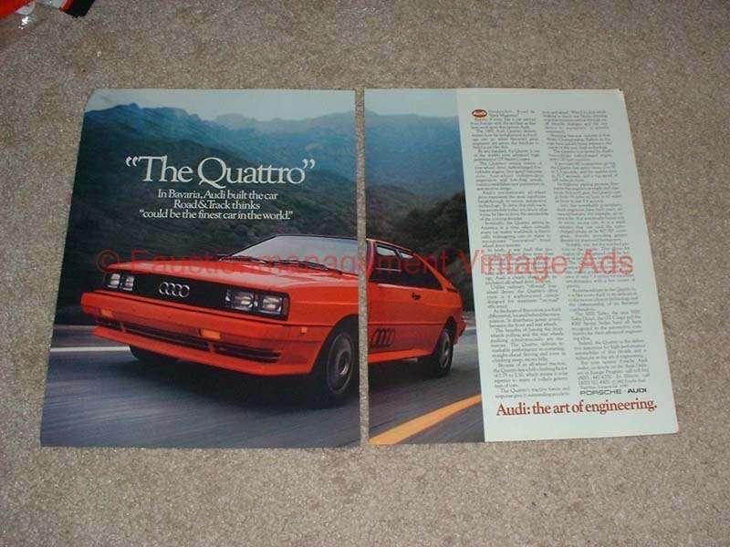 1982 2pg Audi Quattro Car Ad - The Art Of Engineering!