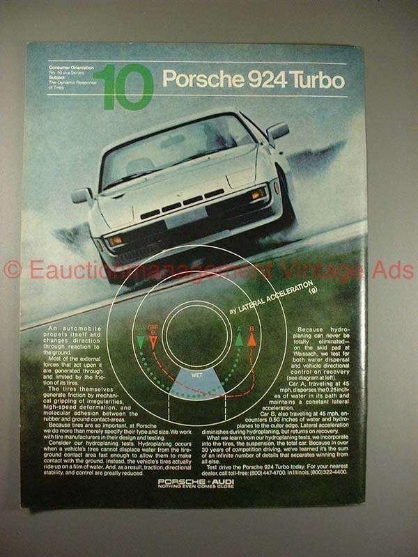1981 Porsche 924 Turbo Ad - Dynamic Response of Tires!