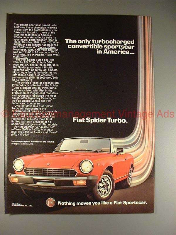 1982 Fiat Spider Turbo Ad, Turbo Charged Convertible!!
