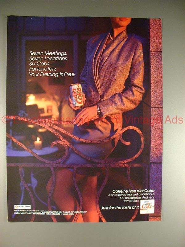 1991 Coke Coca-Cola Diet Caffiene Free Ad, Evening Free