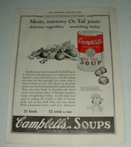 1922 Campbell's Ox Tail Soup Ad - Meaty, Marrowy - $14.99