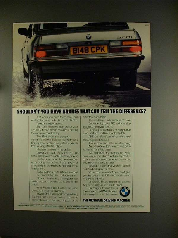 1984 BMW ABS Brakes Ad, featuring 528iSE Car!