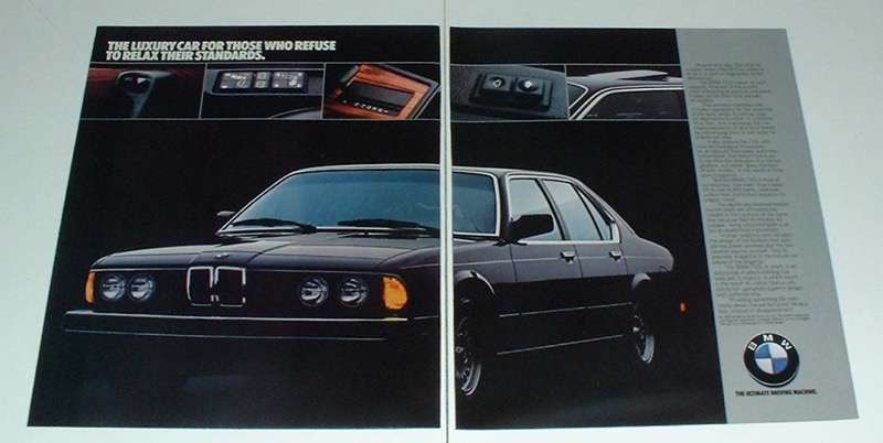 1984 2-page BMW 733i Car Ad - Refuse to Relax!