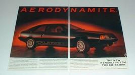 1984 2-page Renault Fuego Turbo Car Ad - Aerodynamite! - $14.99