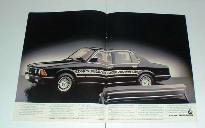 1984 2-page centerfold BMW paint process Ad!