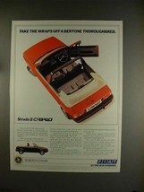 1984 Fiat Strada II Cabrio Car Ad - Bertone Thoroughbred! - $14.99