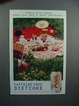 1996 Coca-Cola Diet Caffeine Free Coke Ad - Times - $14.99