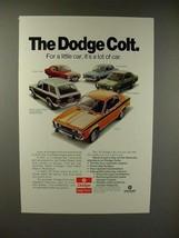 1974 Dodge Colt GT, Wagon, Coupe, Sedan, Hardtop Car Ad - $14.99