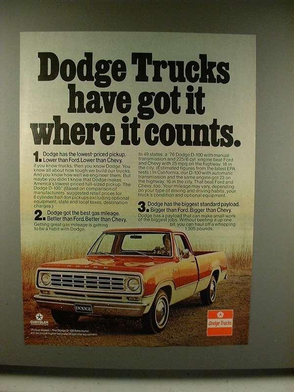 1976 Dodge D-100 Adventurer Pickup Truck Ad - Got it - $14.99