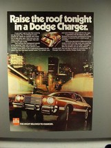 1977 Dodge Charger Car Ad - Raise the Roof Tonight - $14.99
