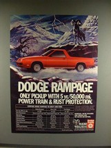 1982 Dodge Rampage Pickup Truck Ad - Protection - $14.99