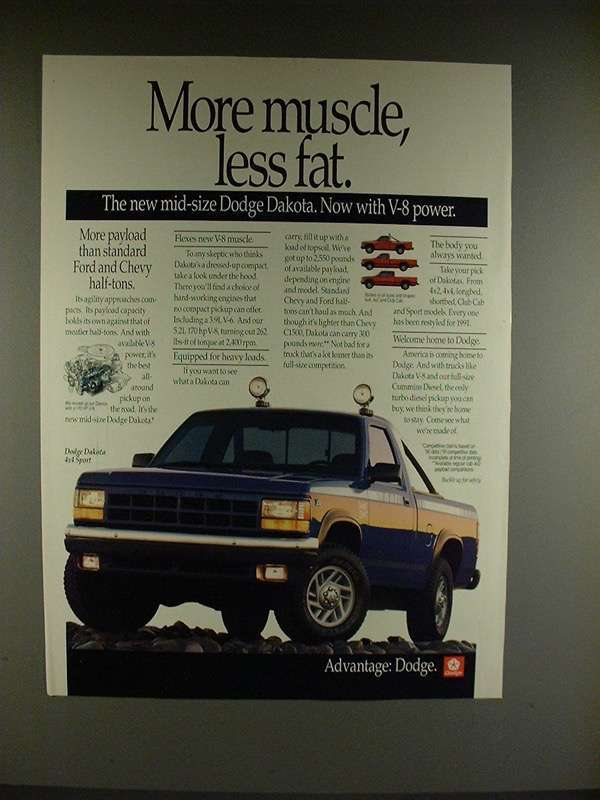 Primary image for 1991 Dodge Dakota 4x4 Sport Truck Ad - More Muscle