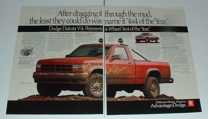 Primary image for 1991 Dodge 4x4 V-8 Truck Ad - Through the Mud!