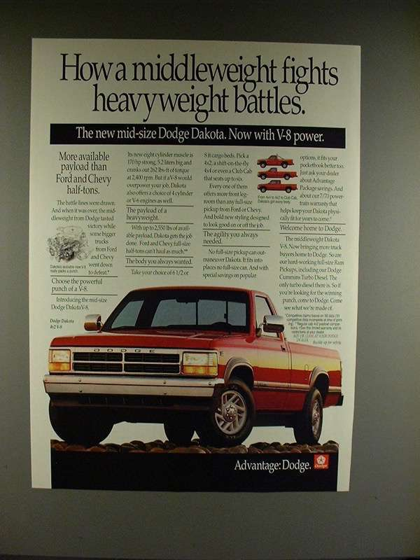 Primary image for 1991 Dodge Dakota 4x2 V-8 Truck Ad - Heavyweight