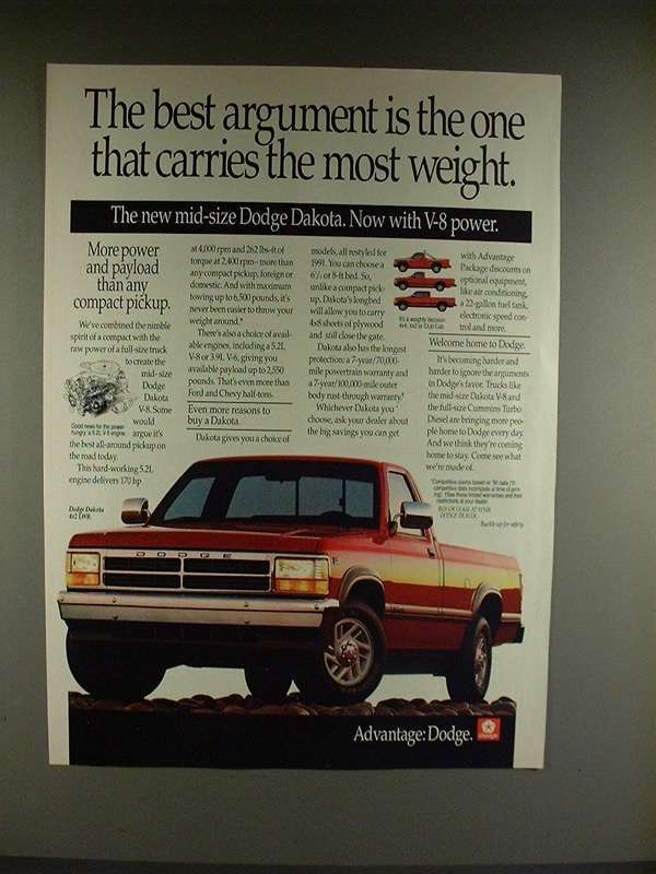 Primary image for 1991 Dodge Dakota 4x2 LWB Truck Ad - Argument