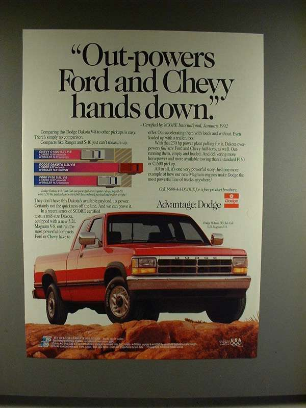 Primary image for 1992 Dodge Dakota LE Club Cab Truck Ad - Out-powers