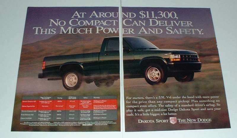 Primary image for 1994 Dodge Dakota Sport Truck Ad - Power and Safety