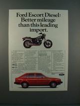 1983 Ford Escort Diesel Car Ad w/ Honda 750 Motorcycle - $14.99