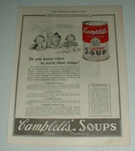 1923 Campbell's Consomme Soup Ad - When to Serve Clear - $14.99