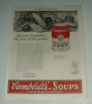 1923 Campbell's Vegetable Soup Ad - Luscious Vegetables - $14.99