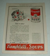 1923 Campbell's Tomato Soup Ad - Time to Play - $14.99