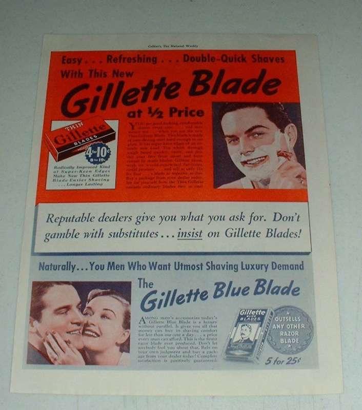 Vintage Gillette Razor Blades Ad - Double-Quick Shaves - $14.99