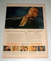 1943 Columbia Records Ad - Joseph Szigeti - $14.99