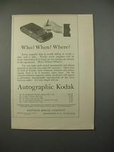 1914 Autographic Kodak Camera Ad - Who? When? - $14.99